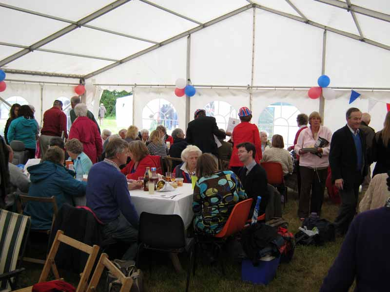 In the marquee at the Jubilee picnic