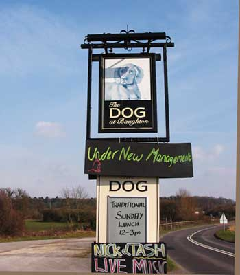 Sign outside the 'Dog at Baughton'