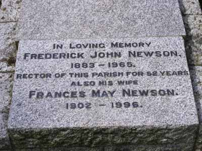 Memorial to Revd Newson and his wife Frances