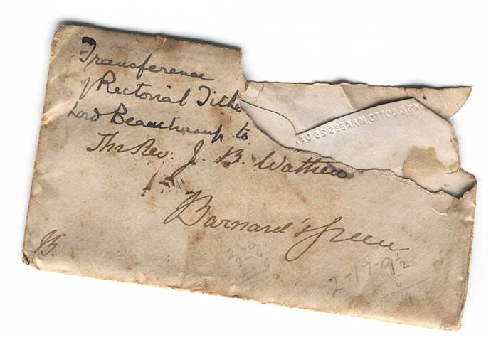 Envelope of tithe letter of 1866