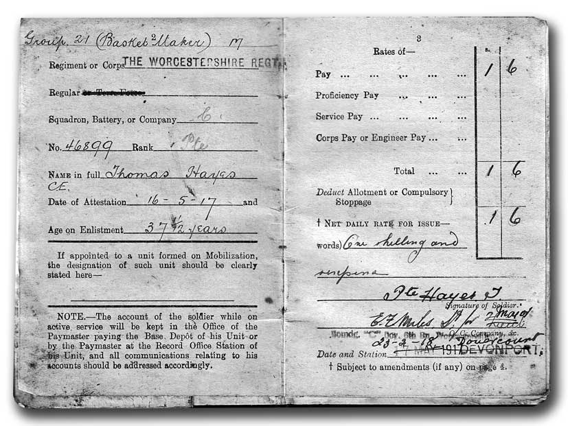 Tom Hayes' army pay book